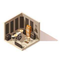 Isometric low poly recording studio icon vector