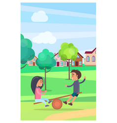 kids on teetering board amusing in summer park vector image