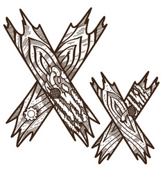letter x from wooden planks alphabet picture for vector image