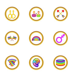 Lgbt rights icons set cartoon style vector