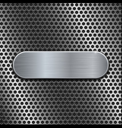 metal oval plate on perforated background vector image
