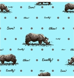 pattern with rhino vector image vector image
