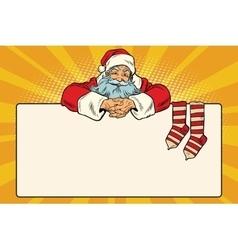 Santa claus character christmas socks for gifts vector
