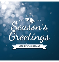 Season greetings with blue bokeh background vector