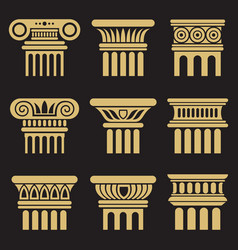 set of ancient architecture column icons vector image