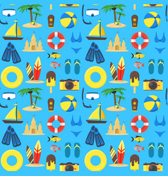 summer rest background pattern on a blue vector image vector image