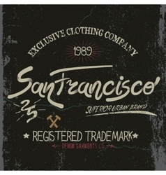Vintage trademark with San Francisco City text vector image