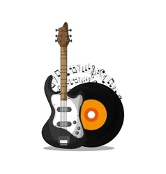 Vinyl and guitar instrument and music design vector