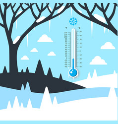 Winter landscape with thermometer frozen land vector