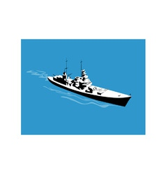 World War Two Battleship Warship Cruiser Retro vector image vector image