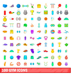 100 gym icons set cartoon style vector image vector image