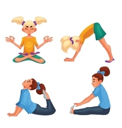 Set with blond and brown haired girls doing yoga vector