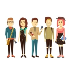 Teenagers students with gadgets and books vector