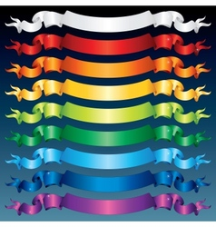 Shiny ribbon banners multicolored set vector
