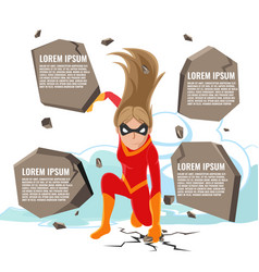 Superhero actions cartoon woman template vector