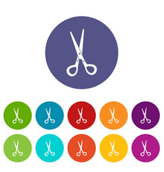 Stationery scissors icons set flat vector