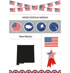 map of new mexico set of flat design icons vector image