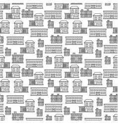 line art houses seamless pattern design vector image