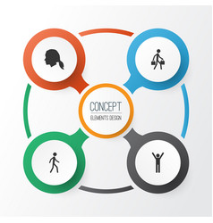 Person icons set collection of jogging vector