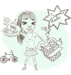 Summer picnic cartoon with funny girl vector