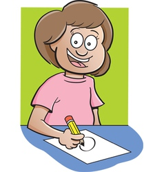 Cartoon girl at desk drawing vector