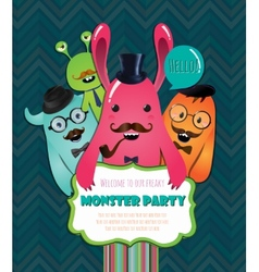 Monster party card design vector