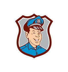 Policeman winking smiling shield cartoon vector