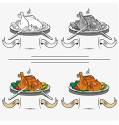 Cooked chicken on the grill vector
