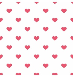 Tile pattern with pink hearts on white background vector