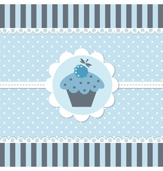 Blue baby shower with cupcake vector
