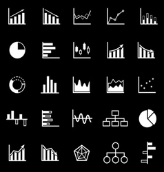 Graph icons on black background vector