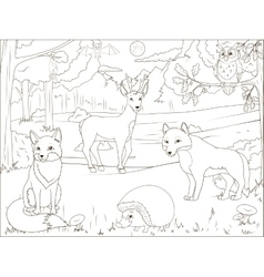 Coloring book forest with cartoon animals vector