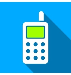 Cell phone flat long shadow square icon vector
