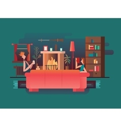 Interior room fireplace vector