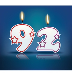 Birthday candle number 92 vector image vector image