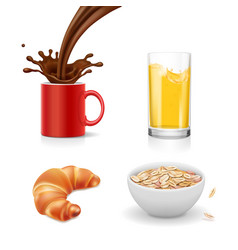 Breakfast icons croissant oatmeal coffee juice vector