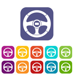 Car steering wheel icons set vector