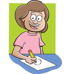 Cartoon Girl at Desk Drawing vector image vector image
