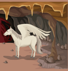 Cave interior background with pegasus greek vector