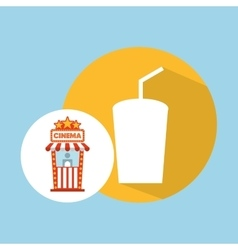 Cinema movie ticket office cup soda graphic vector