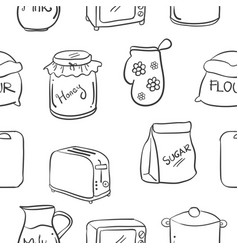 Collection stock of kitchen set hand draw vector