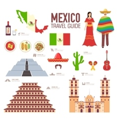 Country mexico travel vacation guide of goods vector
