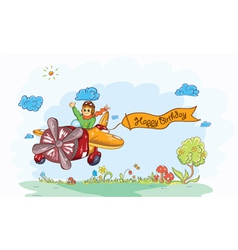 Cute kid flying with a plane vector image vector image