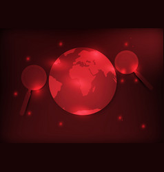 Earth and magnifier with red background vector
