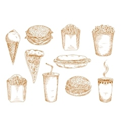 Fast food dishes with drinks and desserts sketch vector