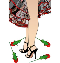 Flamenco and Red Roses vector image