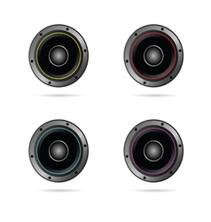 four speakers with different colors vector image