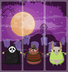 Halloween and background set 4 vector