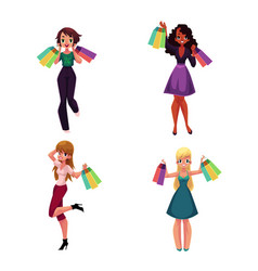 Happy black and caucasian women with shopping bags vector