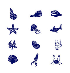 icon set of elements of marine life vector image vector image
